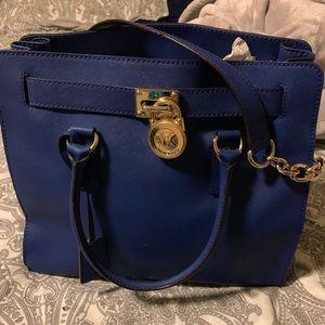 MK hamilton saffiano leather tote electric blue